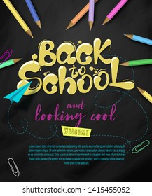 Ink flowing in lettering form Back to school. Topographic Banner with pencils, clothespins and paper plane. Lettering for banners, posters, flyers. Creative sketch design advertising. Vector