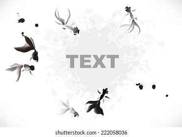 ink gold fish background