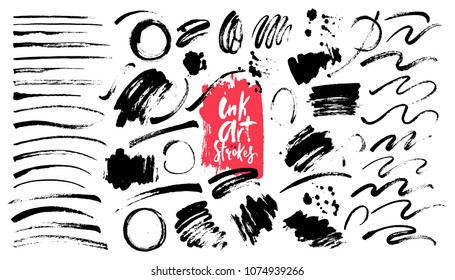 Ink grunge brush strokes, backgrounds, design elements, marks. Art brushes.