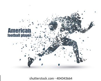 ink guy football player, Vector illustration. isolated on white background.