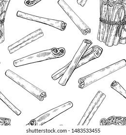 Ink Hand drawn Cinnamon seamless pattern. Vintage cinnamon sticks pattern. Stylish black and white vector illustration. Exotic spice. Endless texture. Botanical background