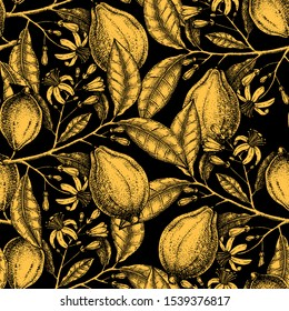 Ink hand drawn citrus fruits backdrop. Gold foil lemons seamless pattern with  fruits, flowers, branches sketches. Perfect for packaging, fabric, wrapping paper. High detailed lemon tree background