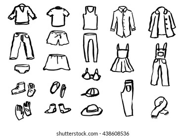 Ink hand drawn clothes vector set with shirt, skirt, pants, shoes, hats etc. Inky lines different thickness and darkness.