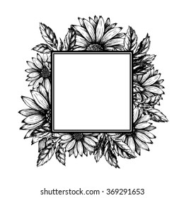 Ink hand drawn floral frame. Golden daisy with leaves. Sketch.  Vector illustration in vintage style.