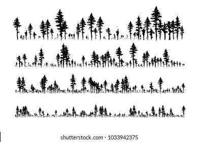 Ink hand drawn forest. Design collection. Horizontal dividers set.