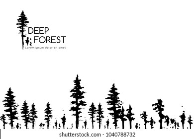 Ink hand drawn forest. Design collection. Horizontal banner with top and down border decoration elements