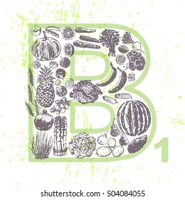 Ink hand drawn fruits and vegetables that contain vitamin B1