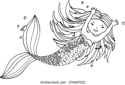 Ink hand drawn little mermaid with long hair and fishes under water