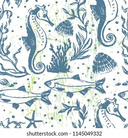 Ink hand drawn seamless pattern with day sea life scene