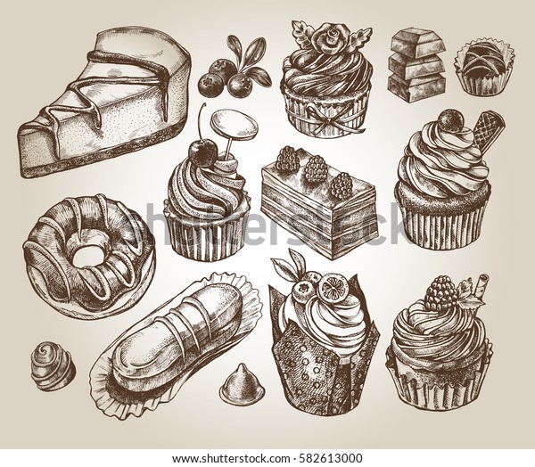 Ink hand drawn set of cupcakes, desserts, sweets. Food elements collection for design, Vector illustration.