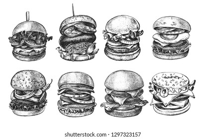 Ink hand drawn set of various burgers with vegetables, eggs, lettuce, onion rings. Food elements collection for menu or signboard design. Vector illustration.