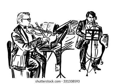 Ink hand drawn sketch of classical musicians in chamber trio - pianist, violinist and cellist