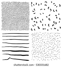 Ink hand drawn textures. Lines, dots, curves, hatching drawn with pen. Abstract backgrounds. Vector design elements
