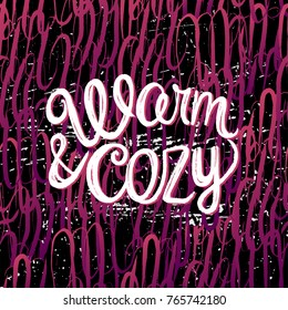 Ink hand drawn Warm and cozy lettering on the knitted seamless pattern