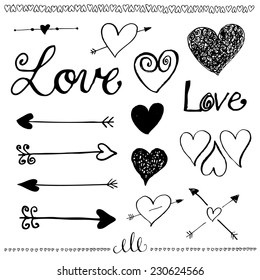 Ink hand-drawn doodle love set. Pen drawn heart, heart line and arrows. Valentine's Day elements. Vector illustration.