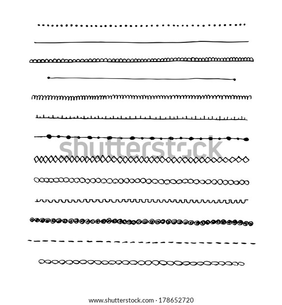 Ink hand-drawn vector line border set and scribble design element.