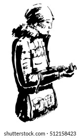 Ink illustration of girl reading