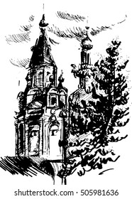 ink illustration of russian church