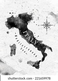 Ink Italy map in black and white graphics in vintage style.