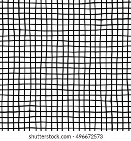 Ink lines grid seamless pattern