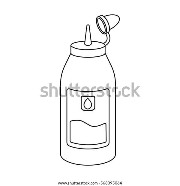 Ink in outline style isolated on white background. Typography symbol stock vector illustration.