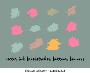 Ink Paint Vector Painted Backgrounds. Bright Colored Brushstrokes, Funky Textures Set. Artistic Colorful Button Collection. Grunge Dirty Vector Painted Backgrounds. Paintbrush Smeared Border.