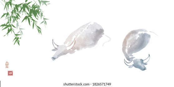 Ink painting of buffallo bulls in water and bamboo tree. Traditional oriental ink painting sumi-e, u-sin, go-hua. Translation of hieroglyph - silence.