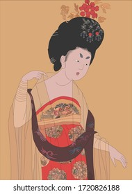 Ink paintings of ancient Chinese ladies