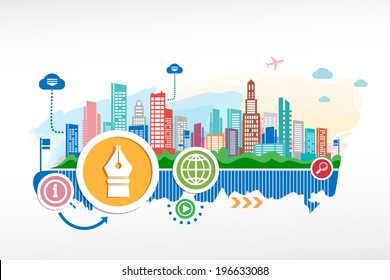 Ink pen and cityscape background with different icon and elements. Design for the print, advertising.