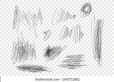 Ink pen scrawls vector illustrations set. Chaotic black scribbles, messy thin line drawings pack. Monochrome freehand sketches isolated on transparent backdrop. Sloppy pencil strokes collection