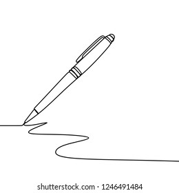 Ink pen writing on paper. One continuous line art drawing vector illustration minimalist design isolated on white background.