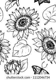 Ink, pencil,  the leaves and flowers of sunflowers  seamless  pattern. Line art transparent background. Hand drawn nature painting. Freehand sketching illustration.