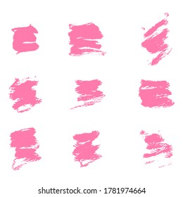 Ink pink blot set. Abstract stain. Isolate on a white background. Vector illustration