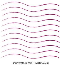Ink pink grunge stripes set. Vector illustration.
