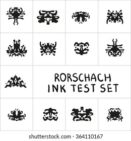 Ink Rorschach test set. Ink-bloat psychology vector collection.