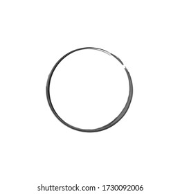 Ink round frame. Enso symbol. Logo, label design element vector illustration. Black abstract circle. Zen circle on white background. Hand drawn enso. Hand paint watercolor round shape.