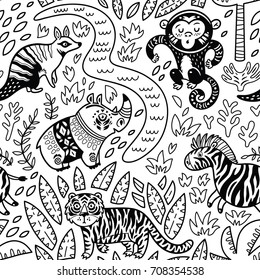 Ink safari animals seamless pattern with cartoon hippo, monkey, numbat, tiger and zebra. Vector texture in childish style great for coloring book