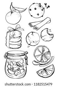 Ink sketch Christmas food. Mandarins, cinnamon, chocolate chip cookies, glass jar with nuts, oranges.