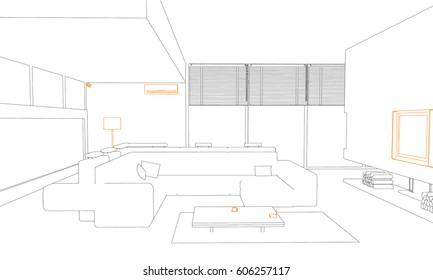 Ink sketch modern interior with electrical appliances, tv, lamp, security camera, wifi router, conditioner. Line vector illustration.