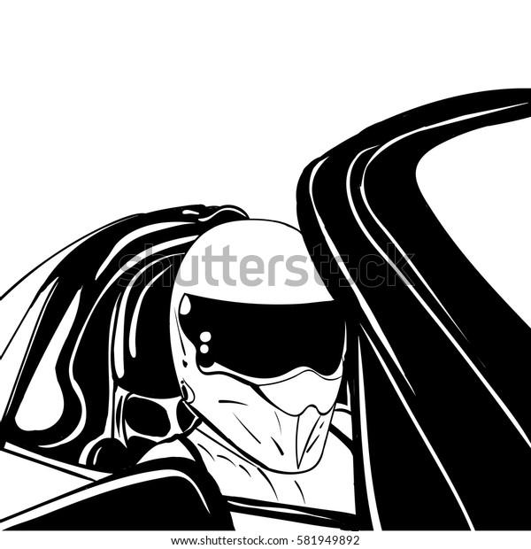 ink sketch racer in a helmet vector illustration