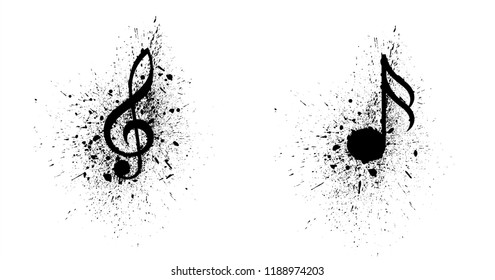 Ink splash splatter music notes Vector party loading musical symbol note background icon Collection symbols songs art seamless pattern fun funny staff draw Hearing eurovision logo Karaoke podcast