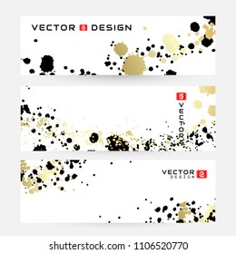 Ink splashes design in black and golden colors.. Modern horizontal banners with abstract elements. Vector hand painted backgrounds in japanese or chinese style.