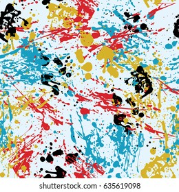 Ink Splashes Seamless Pattern. Abstract Background in Grunge Style. Colored Spray  Vector Texture.