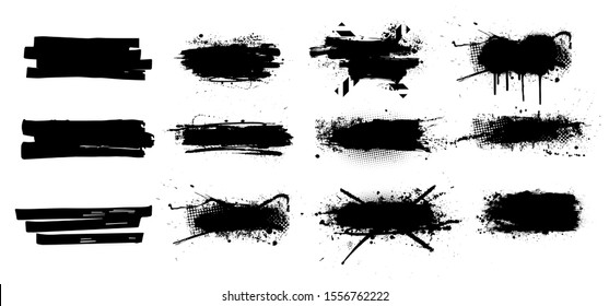 Ink splashes set. High level of tracing. Black inked splatter dirt stain splatter spray splash with drops blots isolated vector grunge silhouette set. Vector grunge silhouette set color dirty liquid