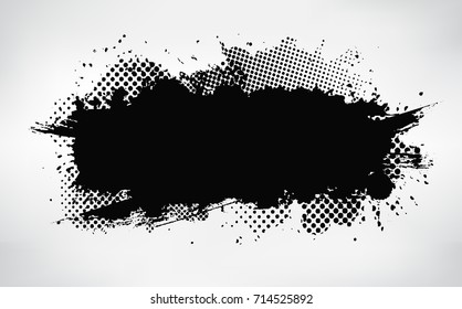 Ink splat banner with grunge effect.Vector distressed banner for your design.