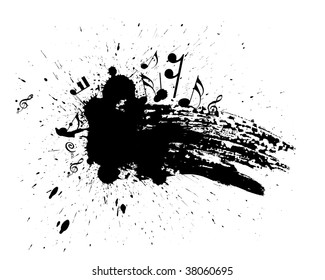Ink splat overlayed by music note in black and white