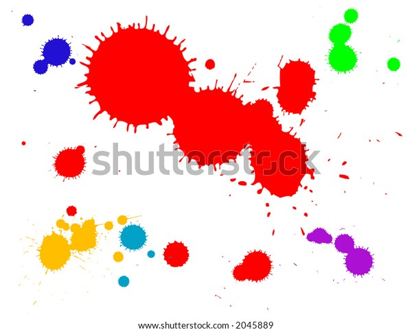 ink splats grouped and to be used as brushes, paint splatters, backgrounds or blood stains etc.