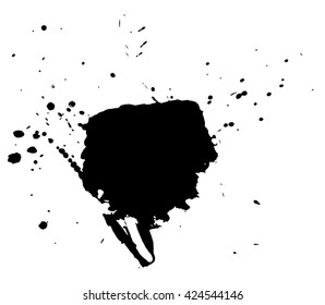 Ink stain. Black Paint  Spot .