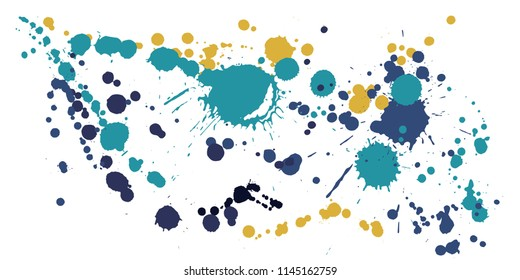Ink stains grunge background vector. Hipster ink splatter, spray blots, dirty spot elements, wall graffiti. Watercolor paint splashes pattern, smear liquid stains spots background.