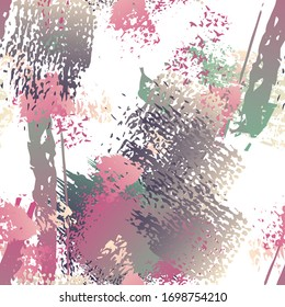Ink Stains Seamless Pattern. Fashion Concept. Distress Print. Maroon, Gray Illustration. Camo Surface Textile. Ink Stains. Spray Paint. Splash Blots. Artistic Creative Vector Background.